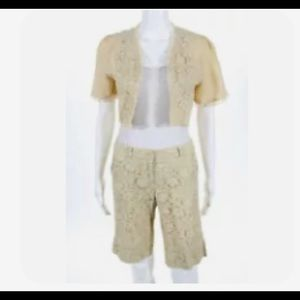 Cropped & crocheted jacket and shorts. Linen blend